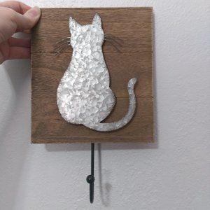 Rustic Chic Hammered Metal Wood Cat Hook Wall Art